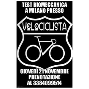 Test di Posizionamento lunedì 21 novembre a Milano presso VELOCICLISTA